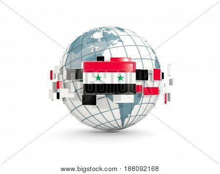 Globe With Flag Of Syria Isolated On White