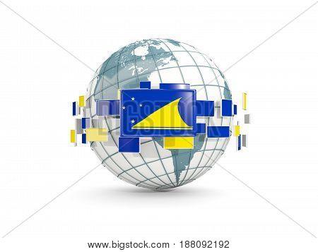 Globe With Flag Of Tokelau Isolated On White