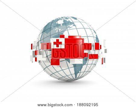 Globe With Flag Of Tonga Isolated On White