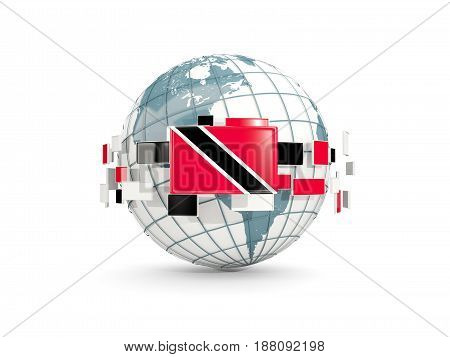 Globe With Flag Of Trinidad And Tobago Isolated On White