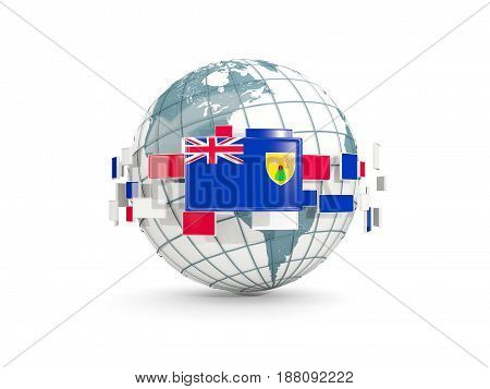 Globe With Flag Of Turks And Caicos Islands Isolated On White