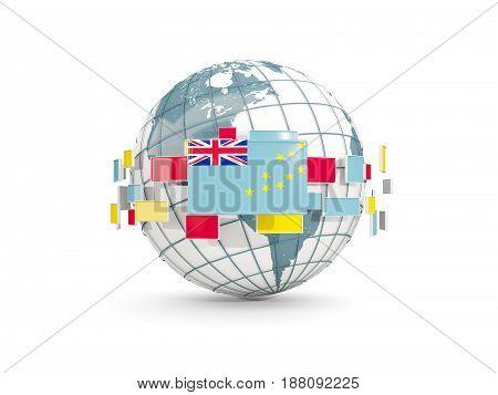 Globe With Flag Of Tuvalu Isolated On White