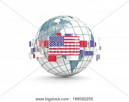 Globe With Flag Of United States Of America Isolated On White