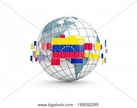 Globe With Flag Of Venezuela Isolated On White
