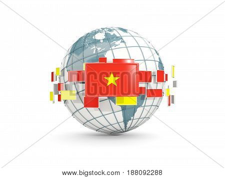 Globe With Flag Of Vietnam Isolated On White