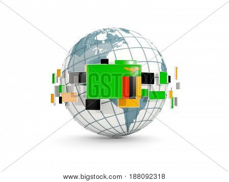 Globe With Flag Of Zambia Isolated On White