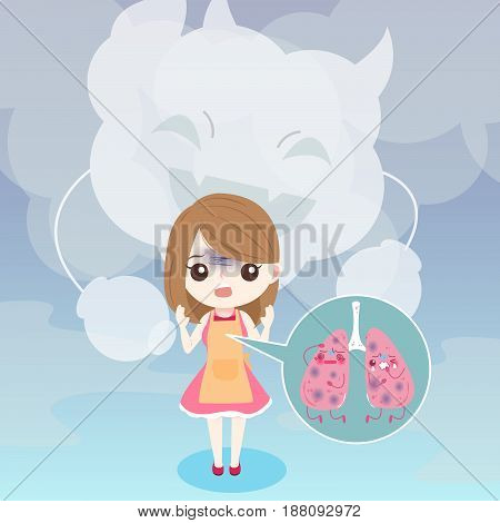 cute cartoon woman with lung helath concept