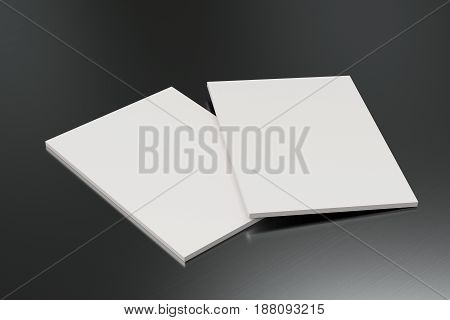 Two Blank White Closed Brochure Mock-up On Brushed Metal Background