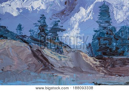 Mountain landscape with oil paints. Coniferous trees against the background of snow-capped mountains. Smears palette knife. Riot of colors. Color transitions. Impressionism. Design Elements