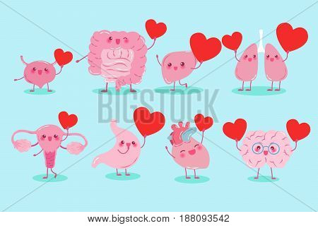 cute cartoon different organ hold heart on background