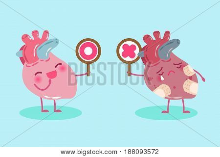 cute cartoon heart take circle and cross signs on green background