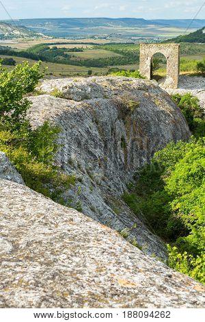 Gate on the Tapshan Plateau of Cave City in Cherkez-Kermen Valley, Crimea