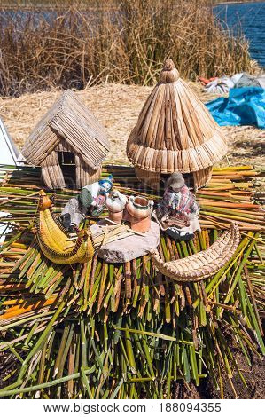 Souvenir from Uros Floating islands Titicaca lake Peru South America