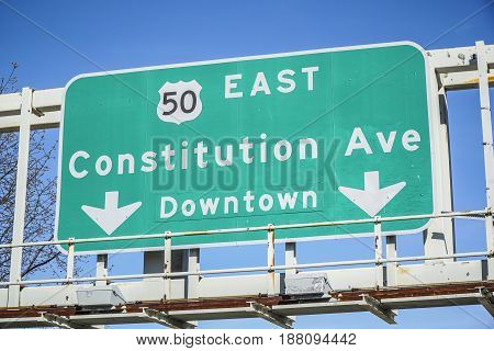 Direction sign to Constitution Avenue in Washington - WASHINGTON - DISTRICT OF COLUMBIA