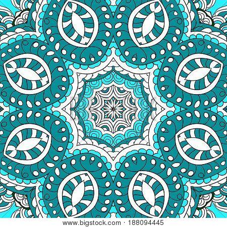 Ornamental pattern round. Lace mandala. Vector. Blue  colors.