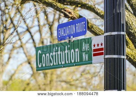 Constitution Avenue in Washington DC - WASHINGTON - DISTRICT OF COLUMBIA