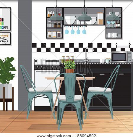 Modern Flat Design Kitchen Bar Interior Vector Illustration