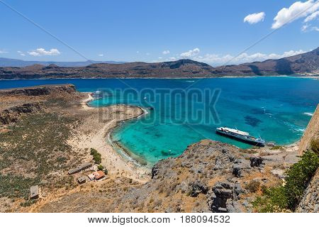 View on the bay of island Imeri Gramvousa and Mediterranean Sea from the Venetian fortress with the top of the plateau. Crete. Greece.
