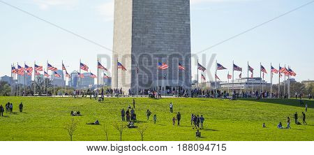 US Flags around the Washington Monument - WASHINGTON - DISTRICT OF COLUMBIA