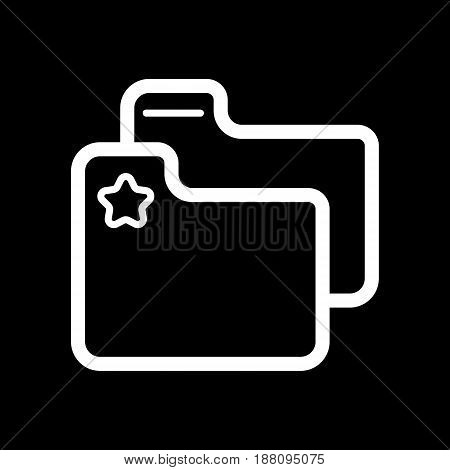 favorite folder with star sign vector icon. Black and white folder with documents illustration. Outline linear office icon. eps 10