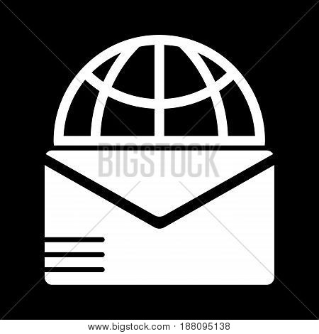 Mail sign and globe vector icon. Black and white letter illustration. Solid linear post icon. eps 10