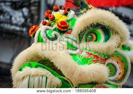 Chinese lion mask usually for cerebration of any important events i.e. new year business grand opening etc.