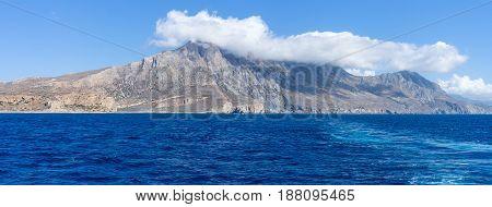 Seascape. Panoramic views of the west coast of Crete. Greece.