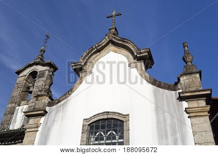 Detail of the Rococo facade of the Igreja da Misericordia (Mercy Church) in Ponte da Barca Portugal