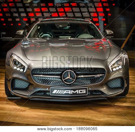 BERLIN - AUGUST 09 2016: Showroom. Sports car Mercedes-AMG GT S Coupe (C190). Produced since 2015.