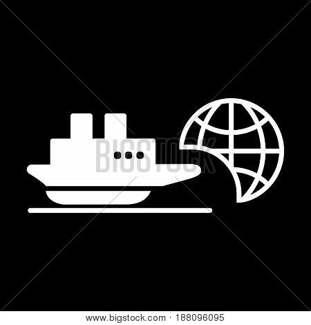 Ship icon. Cruise, tour, delivery concept, Marine boat. Transportation sign Isolated on black background. eps 10