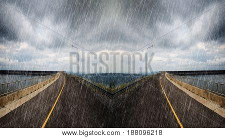 Falling Rain In Road Spliting In Two Way