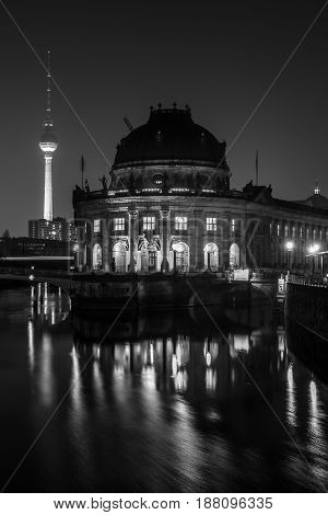BERLIN - MARCH 05 2016: The Bode Museum at night. State Art Museum. Located on the Museum Island. Black and white.