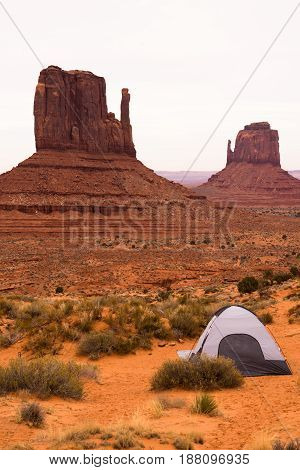 Adventure Seekers Pitched Tent in Monument Valley Mitten Buttes