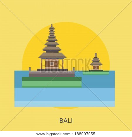 Bali City of Indonesia Conceptual Design | Set of great flat design illustration concepts for city, indonesian, travel and much more.