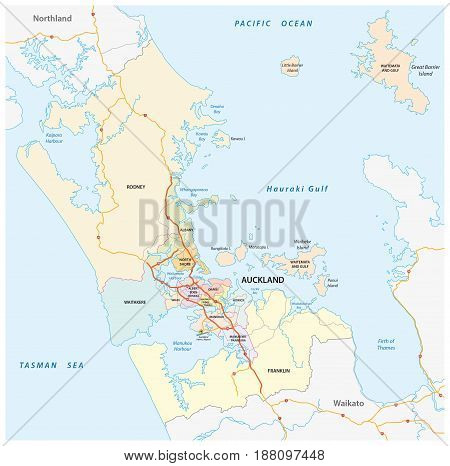 Administrative and political map of the New Zealand city Auckland