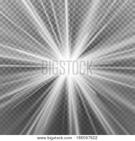 Light Beam Rays Vector. Light Effect Vector. Rays Burst Light.Isolated On Transparent Background. Vector