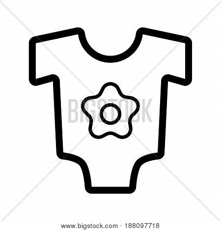 Baby bodysuit vector icon. Black and white baby clothes for girl illustration. Outline linear icon. eps 10