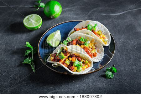Spicy Tacos With Meat And Spicy Tomato Sauce