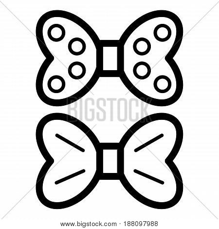 Two bows vector icon. Black and white bow illustration. Outline linear beauty icon. eps 10