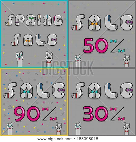 Cards with inscriptions for retail. Vintage font. Sale. Gray retro letters with colorful ties. Pink numerals. Cartoon hipster hands. illustration