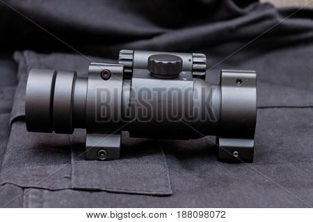 Military Sight. Side View. Black Background. Force.