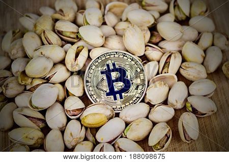 Gold Bitcoin Coin With Blue Sign