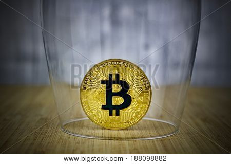 Gold Bitcoin Coin Protect By Glass