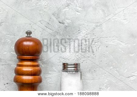 Cooking set with salt and saltcellar on kitchen stone table background top view mock up