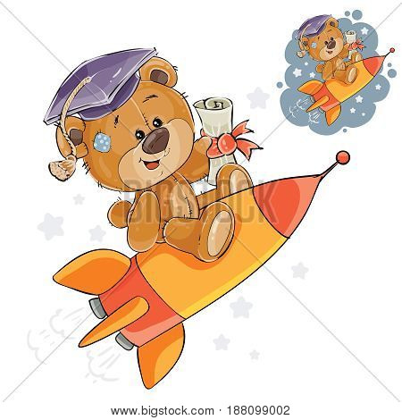 Vector illustration of a cheerful brown teddy bear in the graduation cap with a diploma in his paw flies on a rocket into adulthood, a metaphor. Print, template, design element