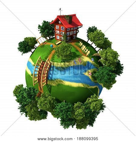 Planet 3D ( House ) with white background