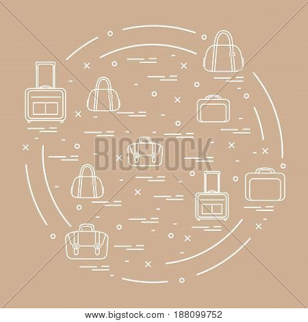 Vector Illustration With Different Bag And Suitcases For Travel Arranged In A Circle. Summer Time, V