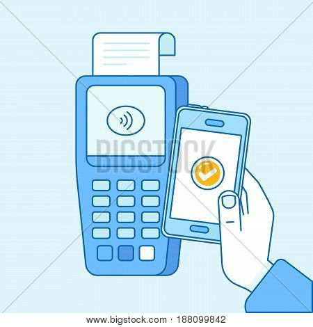 Vector Flat Linear Illustration In Blue Colors - Contactless Payment Concept