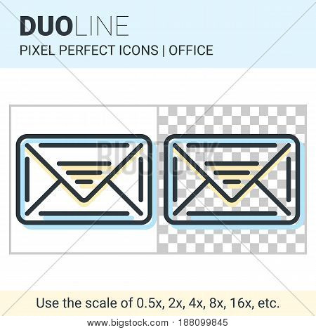 Pixel Perfect Duo Line Email Icon On White And Transparent Background For Responsive Web Or Product
