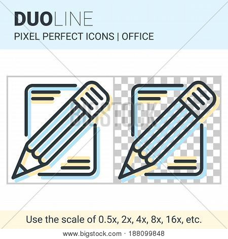 Pixel Perfect Duo Line Pencil And Paper Icon On White And Transparent Background For Responsive Web